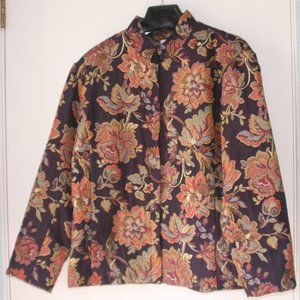 Zip up Floral Jacket-Purple, Red, Green, Blue